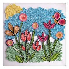 Flower Artists, Quilling Art, All Wall, Spring Flowers, Light In The Dark, Mixed Media, Greeting Cards, Stripes, Wall Art