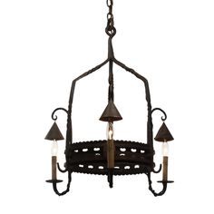 Antique Wrought Iron Chandelier from France, c.1920 - Preservation Station…