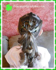 St. Patricks Day hairstyle, Shamrock ponytail