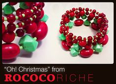 "Red and green beads from small to large make for a fun holiday piece in ""Oh! Christmas""! The beads are a combination of natural stone and various other beads. Small to Large Beaded Christmas Bracelet with by RococoRiche, handmade jewelry available on Etsy!"