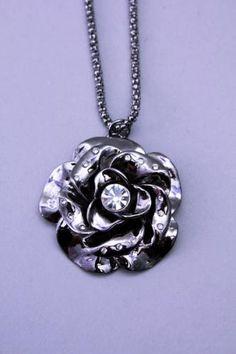 Pewter High Polish Metal Rhinestone Flower Necklace Flower Necklace, Wholesale Jewelry, Pewter, Gemstone Jewelry, Fashion Jewelry, Polish, Pendant Necklace, Gemstones, Metal