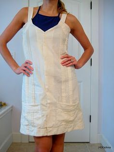 a men's shirt refashioned into a little sundress - great shirt to start with all the pintucks