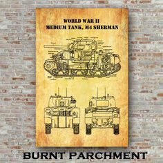 World War II Sherman Medium Tank M4 Poster Sherman Tank | Etsy Technical Artist, Sherman Tank, Patent Drawing, The Inventors, Crisp Image, Digital Form, Patent Prints, Unique Image, World War Ii