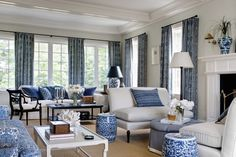 Home living room, formal living rooms, coastal living rooms, hamptons Salon Hamptons, Hamptons Living Room, Coastal Living Rooms, Home Living Room, Living Room Decor, Living Spaces, Dining Room, Blue Rooms, White Rooms