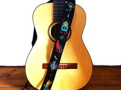 Custom Hieroglyphs Guitar Strap/Ancient Egypt Custom Hand Embroidered Eye of Horus Guitar Strap/ Walk Like an Egyptian