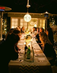Outdoor candlelit dinner. Love this!