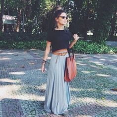 Black cropped top + gray pleated maxi skirt.