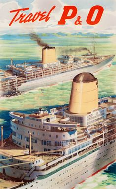 Vintage P&O Cruise Lines Travel Poster by Tom Johnston