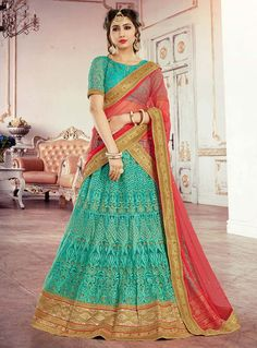 Sea Green Net Embroidery Work A Line Lehenga Choli 89965