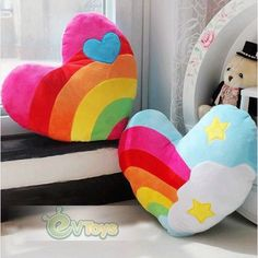 Valentines 15.8 Inch Stuffed Plush Rainbow Heart Toy Gift Back Cushion Throw Pillow   Our Price:$10.98