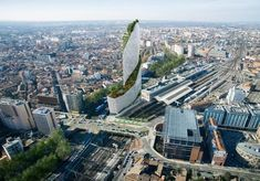 Occitiane Tower by architect Daniel Libeskind Toulouse, France Green Architecture, Chinese Architecture, Futuristic Architecture, Beautiful Architecture, Daniel Libeskind, World Trade Center, Grand Tour, Vertical Forest, Vertical Gardens
