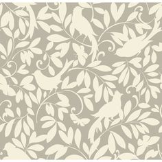"Waverly Cottage Birdsong 20.5' x 20.5"" Botanical Wallpaper | Wayfair"