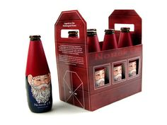 "Love this packaging designed by Ryanna Christianson, a recent graduate from the University of Wisconsin Stevens Point, United States. ""Norsk Ol is a six pack alcoholic beverage. Based on research of Norwegian traditions and folklore, the bottle represent Norvegian ""Nisse"". Nisse are small mythical creatures that are thought to bring good luck but are also mischievous as well. Legend says they dwell in barns and around farms."""