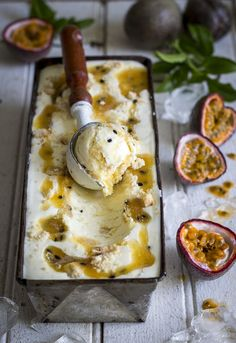 No-Churn Passion Fruit Cheesecake Ice Cream - The Kate Tin - Ice Ice Baby. Passionfruit Cheesecake, Passionfruit Recipes, Cheesecake Ice Cream, Ice Cream Desserts, Köstliche Desserts, Frozen Desserts, Ice Cream Recipes, Dessert Recipes, Fruit Dessert
