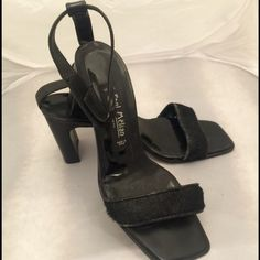 PRICE CUT!!  Paul Mélian Calf Hair Slides Black calf hair heeled slides. Lightly worn.  NO TRADES  Free Beauty Sample With Purchase  Paul Mélian Shoes Sandals