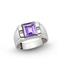 925 K Sterling Silver Men's Ring with 3.25 ct Amethyst and 0.02 ct Diamonds