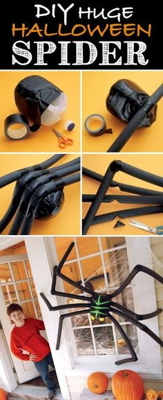 Huge Black Spider Start Halloween night off right by greeting your trick-or-treaters with a huge black spider! I like this idea for a large shrub or bush covered in spider webbing. A milk jug, black tape and pipe insulation is all you need to make this eight legged friend.
