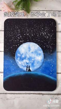 Canvas Painting Tutorials, Diy Canvas Art, Drawing On Canvas, Art Drawings Beautiful, Art Drawings Sketches Simple, Art Painting Gallery, Moon Painting, Watercolor Art, Paintings