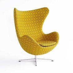 Furniture, Arne Jacobsen Egg Chair By Fritz Hansen With Yellow Nest Pattern