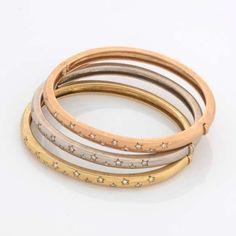 9e1e01dc5fa3d H.Stern - Conjunto de três pulseiras de ouro 18k e diamantes lapidação  brilhante.