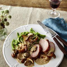 Bacon-Schweinefilet mit Pilz-Rahm und Spätzle Rezept | LECKER