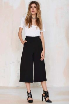@roressclothes closet ideas #women fashion outfit #clothing style apparel White Top and Culottes