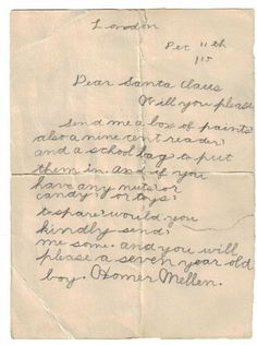 The 1915 letter to Santa. Courtesy Laurie Bloomfield