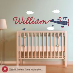 Airplane Name Wall Decal Boy Skywriter for Baby Nursery Children. $50.00, via Etsy.