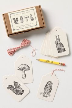 DIY: make own stamped gift tags, fun project for winter break, Woodland Gift Tags $8.40 for 8