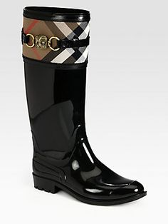 Burberry Aberdale Animal-Detail Canvas Rain Boots