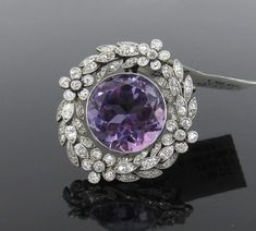 Antique Edwardian 2.0ct Diamond & 15ct Amethyst Platinum & 18K Gold #brooch #GoldBrooches