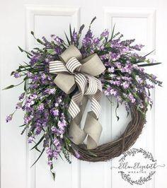 Lavender wreaths for front door, Everyday wreath, Purple door wreath, Farmhouse wreath, Spring wreath, All season wreath, Wispy Wreath by EllenElizabethWreath on Etsy #lavender #wreath #wreaths #frontdoor #frontporch #springwreath #etsyshop