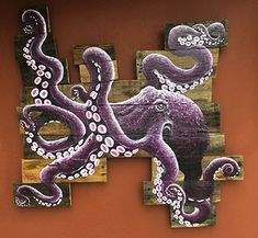 "Purple Octopus. New concept, crazy shaped board. Piece is approx: 34""wx32"" high. For sale: $485"