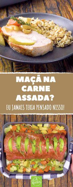 Uma receita inigualável com o trio maravilha: uma carne suculenta, um arroz aromático e vegetais crocantes. Bom apetite! :) #receita #areceitaria #porco #carnesuina #maca #carneassada #arroz #tutorial