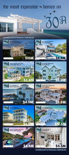 We are highlighting the most expensive homes for sale in all of the 30A communities.  Check out the top dollar asked for real estate in Dune Allen, Santa Rosa Beach, Blue Mountain Beach, Grayton Beach, Watercolor, Seaside, Seagrove Beach, Watersound, Alys Beach, Seacrest Beach, Rosemary Beach and Inlet Beach. Expensive Homes, Most Expensive, Seagrove Beach, Beach Watercolor, Santa Rosa Beach, Rosemary Beach, Find People, The Dunes, Blue Mountain