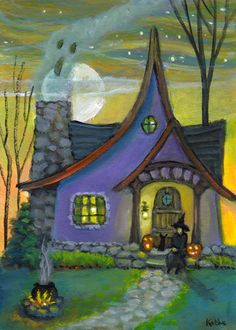 'Sit a Spell on the Porch' by Kathe Soave, witch cat ghost cauldron pumpkins halloween Halloween Canvas Paintings, Halloween Artwork, Halloween Pictures, Halloween Wallpaper, Halloween Themes, Samhain Halloween, Halloween Pumpkins, Fall Halloween, Paper Halloween