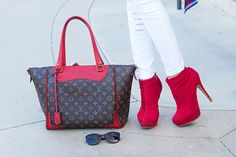 Cherry Red (Cerise) Louis Vuitton Estrella Bag With Red Booties and Chanel Sunglasses The Haute Blonde- Fashion & Beauty Blog: Flannel Shirt & Ripped Jeans