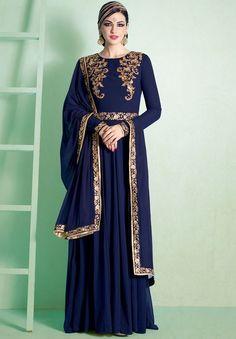 Decorous Midnight Blue Anarkali Suit