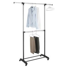 more closet...Home Organization Collection Double Tier Adjustable Garment Rack.