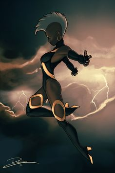 Afrofuturism Cyberpunk Storm X-Men – Costume - Marvel Comics Black Anime Characters, Comic Book Characters, Marvel Characters, Comic Character, Comic Books Art, Comic Art, X Men, Black Love Art, Black Girl Art