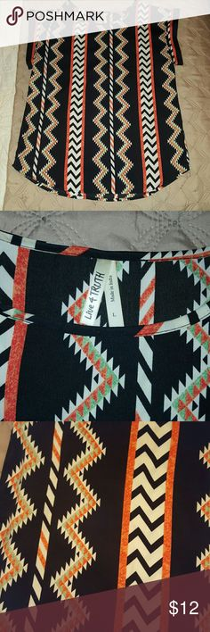Tribal print blouse. Excellent condition Tribal print blouse. Excellent condition. Black orange cream Live 4 Truth Tops