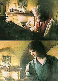 The Hobbit : An Unexpected Journey - Bilbo and Frodo in Bag End Fellowship Of The Ring, Lord Of The Rings, Lord Rings, Legolas, Aragorn Lotr, O Hobbit, Hobbit Art, The Misty Mountains Cold, Concerning Hobbits