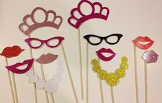 Bachelorette ladies night out glitter photo booth prop set 12 pieces via Etsy