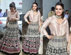 Kajol in Tarun Tahiliani for Helicopter Eela promotions – South India Fashion Party Wear Indian Dresses, Indian Gowns Dresses, Dress Indian Style, Indian Fashion Dresses, Indian Wedding Outfits, Indian Designer Outfits, India Fashion, Indian Outfits, Indian Wear