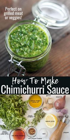 An easy recipe for classic Chimichurri Sauce. This fresh sauce is amazing on grilled meat or veggies! Sauce Recipes, Cooking Recipes, Healthy Recipes, Healthy Sauces, Budget Cooking, Oven Recipes, Vegetarian Cooking, Easy Cooking, Easy Recipes