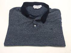 Salvatore Ferragamo XL Men's Blue Cotton Linen Blend Short Sleeve Polo Shirt #SalvatoreFerragamo #PoloRugby