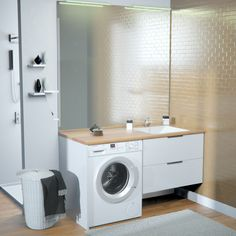Modern Bathroom, Small Bathroom, Wooden Bathroom Cabinets, Washing Machine, Laundry, New Homes, Home Appliances, House Design, Studio