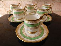 Royal Albert Coffee Set 12 Pieces Green Gold 1st Qlty and Perfect C1927 | eBay