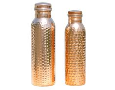 Set of Two Hammered water bottles for Carryin and storing drinking water