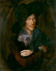 Portrait of John Donne, c. 1595....O, those metaphysical poets!   How strange when we were studying John Donne we were never shown a picture and I NEVER imagined that he looked like this - sort of Byronesque!